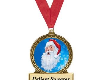 Ugly Sweater, Ugly Christmas Sweater, Award, Christmas Sweater Award, Santa Award, Ugly Sweater Party, Santa Metal Award, Christmas Award