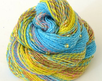 Handspun Yarn, Vegan Faux Cashmere Beaded Yarn - 1.75oz, 220yd, WPI 22,