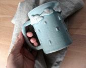 Rainy Day Mug. Clouds and rain porcelain handmade coffee mug.Puffy clouds sculpture modern ceramics