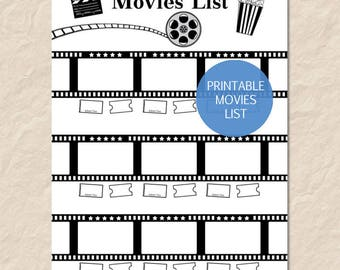 Printable Movies List, Printable Watch List, Printable Film List, Film Reel List, Bullet Journal Reading List Insert