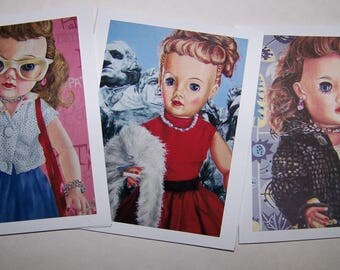 Vintage Doll Theme Notecards - Pink Patsy
