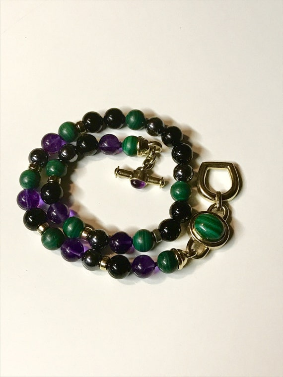 "Kai-Yin Lo Amethyst Malachite Hematite and Onyx Gilded Sterling Silver Necklace (17"")"