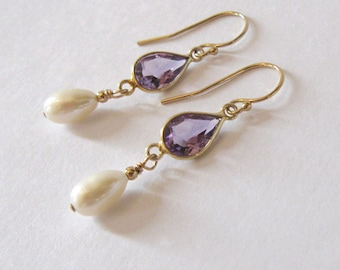 Amethyst Gemstone Teardrop Earrings, Freshwater Pearl Drop, Goldfilled Earrings