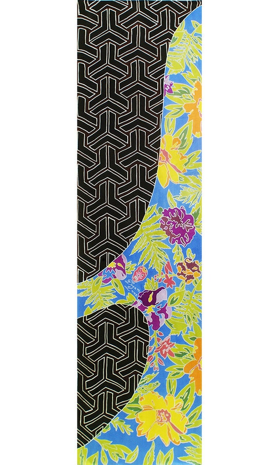 Floral and Pattern luxury silk scarf. Perfect gift for girlfriend