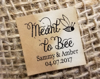 "Meant to Bee 1"" square STICKER Personalized Wedding Engagement Shower Favor STICKER choose your amount"
