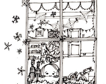 The Winter Window original pen and ink drawing.
