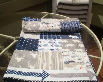 Baby Quilt, baby deer quilt, Baby Boy Bedding, Baby Girl Quilt, Woodland, rustic, arrow, bear,Moose,Stag, crib bedding, toddler, Arrow quilt