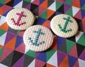Cross Stitch Nautical Anchor Pin Badge