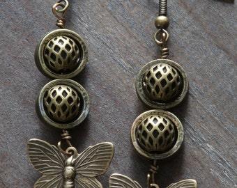 Steampunk Earrings - Brass Butterflies Charms