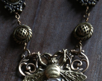 Steampunk  Necklace  with Antique Filigree and Clockwork Bee