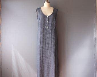 vintage 90s dress / blue checkered slouchy dress / empire waist tie back dress / sz 24