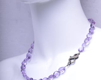 Polished Smooth Amethyst Necklace with Pave Diamond Clasp