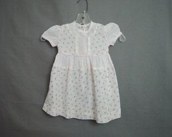 Vintage 1950s Pink Floral Cotton Little Girl's Dress, 22 inch chest, Cotton Voile