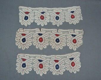 3 Vintage Dress Lace Pieces, Antique Edwardian White, Red & Blue, 13x4 inches, Cotton Dress Trims Findings Remnants