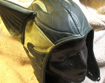 Cat-Ear Aviator Hat in Dark Green/ Sage Leather/ Suede