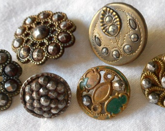 Lot of 6 ANTIQUE Pressed & Cut Steel Metal BUTTONS