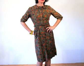 Karina, 60s Cotton Autumn Floral Shirt Dress, 60s Day Dress, Autumn Day Dress, Shirtwaist Dress, Orange Brown Olive Green Floral 60s Dress S