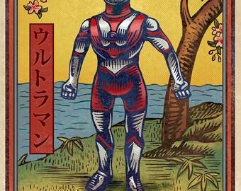 """Ultraman Matchbox Art- 5"""" x 7"""" matted signed print"""