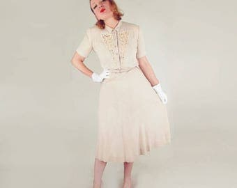 40s Beige Belted Dress with Lace Trim by Betty Levay L