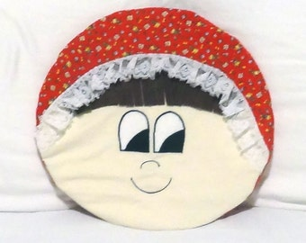 "Doll & Puppy Dog Pillow Cover or Pajama Bag with Appliqued Eyes and Nose - 12"" Round - Fully Lined - PJ Pillow - PJ Bag - Pajama Pillow"