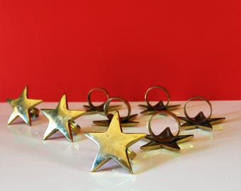 Vintage brass star napkin rings / vintage brass / napkin rings