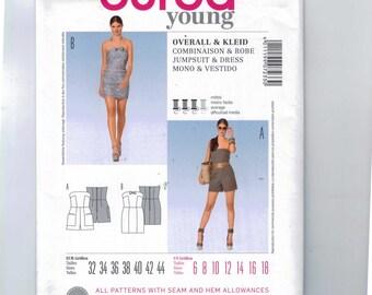 Misses Sewing Pattern Burda 7233 Jumpsuit and Dress Strapless Juniors Size 6 8 10 12 14 16 18 UNCUT