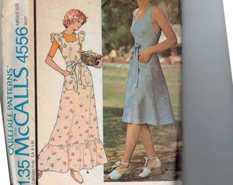 1970s Vintage Sewing Pattern McCalls 4556 Pinafore Dress Sundress Jumper Shoulder Ruffles Size 10 Bust 32 UNCUT 1975 70s