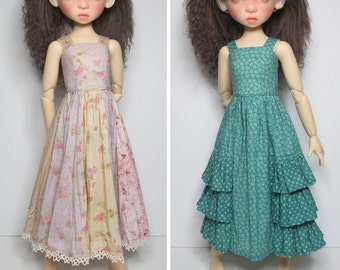 STRAIGHTFORWARD SEWING Pattern SSP-045: 2 dresses for Kaye Wiggs dolls.  (43cm Mei Mei) Dresses and petticoats.