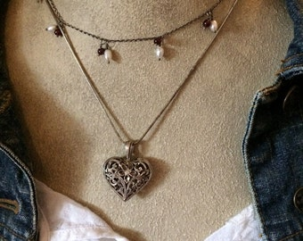 Antique Sterling Silver Filigree Heart Pendant with Flowers - Valentine Gift - Vintage Jewelry Romantic Chic