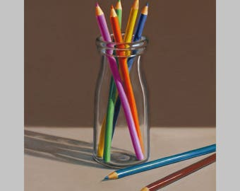 Pencils In Bottle III, 10x8 original oil painting realistic still life by Nance Danforth