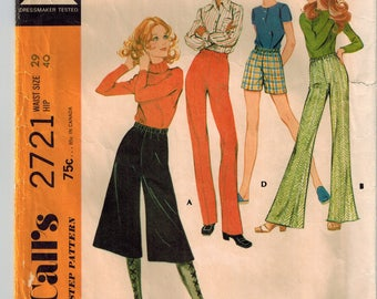 Vintage 70s Misses Pants or Shorts Sewing Pattern Waist 29 Hip 40 Gauchos Culottes Bell Bottoms Flared Pants Elastic Waist Pull On Pants