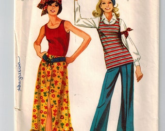 Vintage 70's Tunic, Maxi Skirt & Bell Bottoms Sewing Pattern Size 11/12 Bust 32 Low U Shaped Sleeveless Neckline Front Button Maxi Skirt