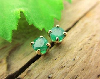 Emerald Stud Earrings, Green Earrings in 14k Yellow Gold, 3mm