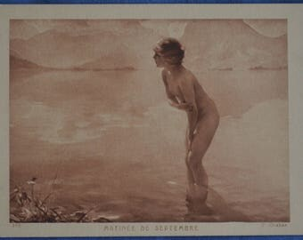Art Nude Girl in Lake Matinee de Septembre September Morning Paul Emile Chabas Early 20th Century Postcard Paris France