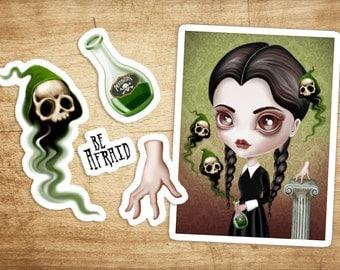 Vinyl Sticker Set of 5 Wednesday Addams Die Cut Vinyl Stickers Decals