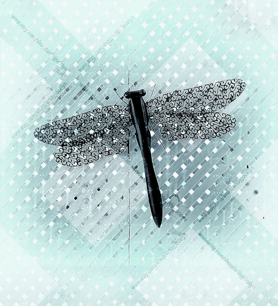 Fabric Shower Curtain Turquoise And White Graphic Dragonfly