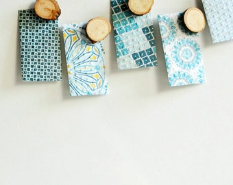 Blue Small Envelopes {5 w. cards/ seals} | Patterned Envelopes | Housewarming Gift | Mothers Day | Gift under 5