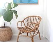 Italian Franco Albini Style Modern Scoop Rattan Chair