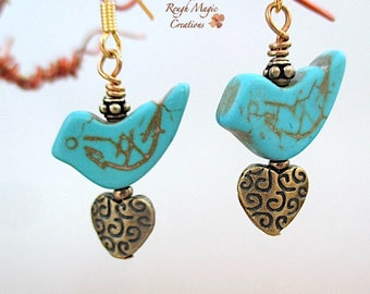 Blue Bird Earrings, Turquoise Howlite Gemstone, Bronze Heart Drops Antique Brass Dangles, Romantic Love Birds, Gold Hook Earring Wires  E254