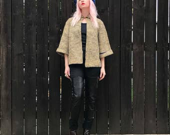 Cropped Jacket // 60s Mod // Tweed Coat // 1960s Clothing // Chanel Inspired // Blue Yellow Cream // Gold Rhinestones // XS SMALL