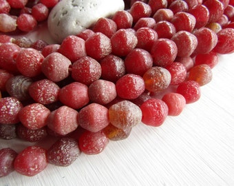 red bicone  lampwork glass beads , matte textured  red tone  , rustic gritty aged look indonesian , 14 to 16mm long  (6 pcs ) 6CB7