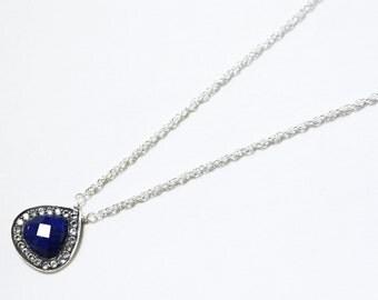 Blue Lapis Pendant White Topaz Pendant Pavé Set Necklace Lapis Necklace Gemstone Necklace GEM-P-140-Lapis