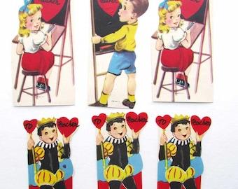 Lot of 6 Vintage 1950-60's Kid's Teacher Valentines with Children Activities, Old School Valentines, Vintage Supplies,  Scrapbooks