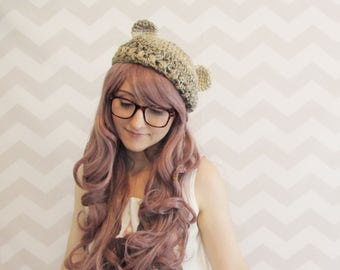 Kawaii cute bear ears slouchy hat beret beanie anime