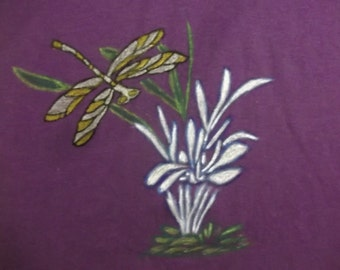 Girls Purple Tshirt with Hand Painted White Iris with Silver and Gold Dragonfly Kids Gift Handmade Gift for Her Friend Gift Size Medium