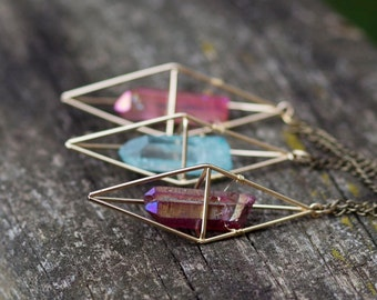 Ruby Aura Quartz Necklace / Gold Geometric Caged Crystal Necklace / Boho Gypsy Healing Quartz Point Necklace Triangular Dipyramid Necklace