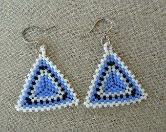 Blue Triangle Earrings, Blue  and Black Triangles, Beadwoven Earrings, Beaded Geometric Dangles, Beaded Jewelry, Unique Gift For Her