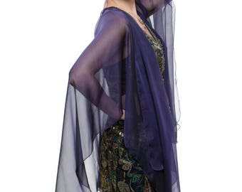 Purple-Black Sheer Silk Cardigan Cape OLIVIA