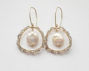 Pearl & Labradorite Earrings Gold Filled Oblong Triangle Earrings Grey Earrings Window Earrings Bohemian Earrings Wrap Earrings