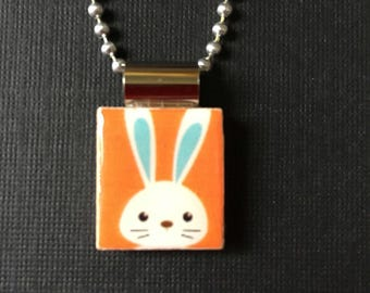 Easter Bunny Jewelry, Easter Gift, bunny necklace, bunny pendant, rabbit jewelry, recycled scrabble tile pendant, handmade jewelry, chain